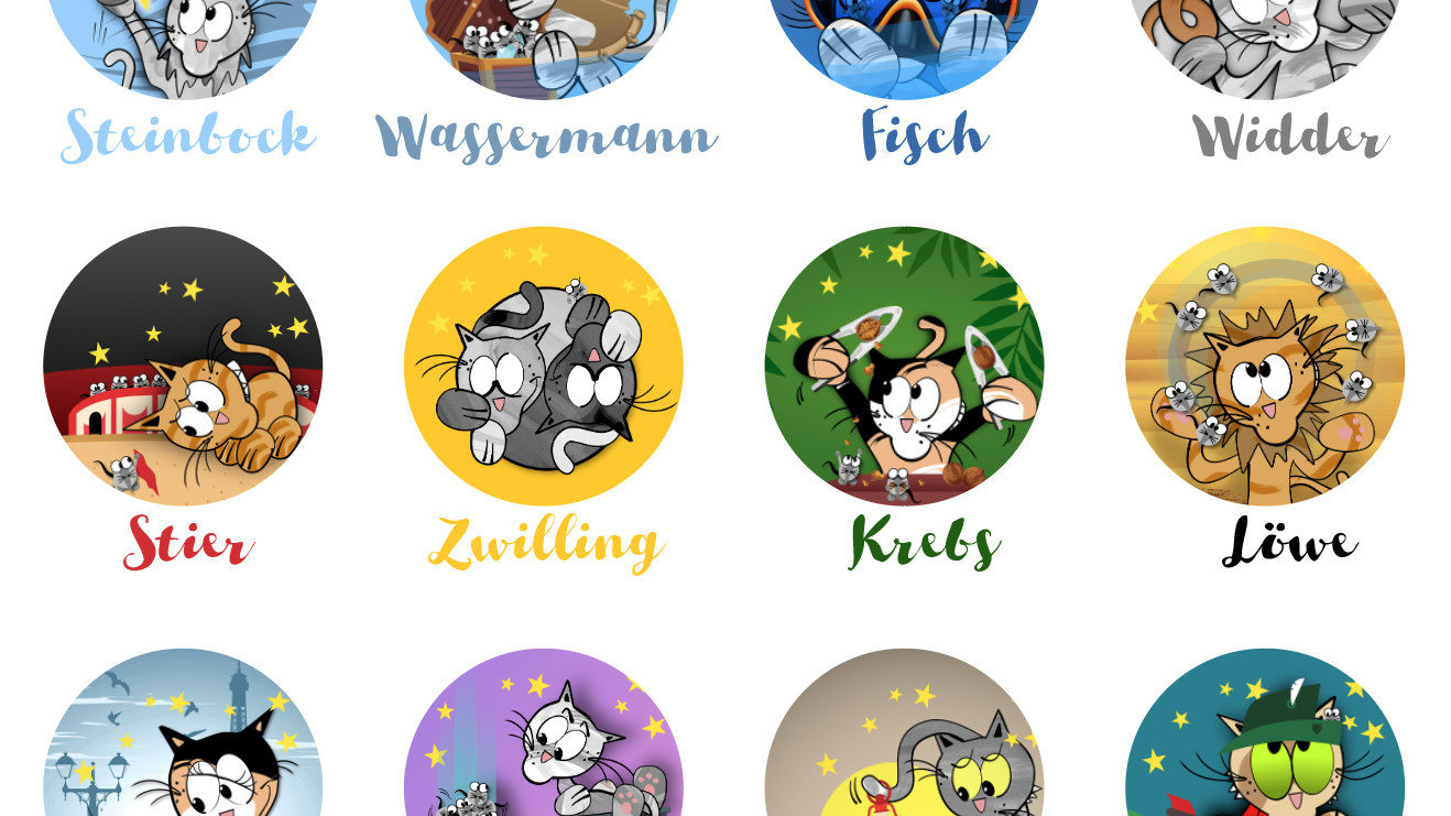 Katzen-Sternzeichen-Cartoons
