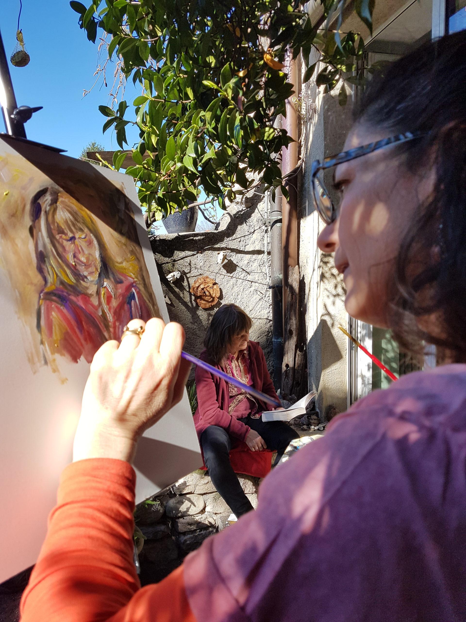 Ich male Gardi Hutter zu Hause im Tessin